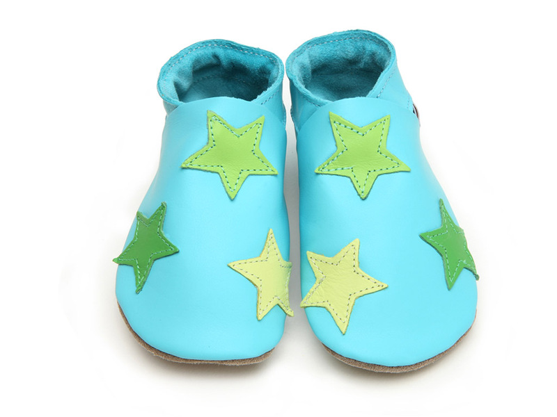 Starchild - Chaussons Cuir Stars Turquoises
