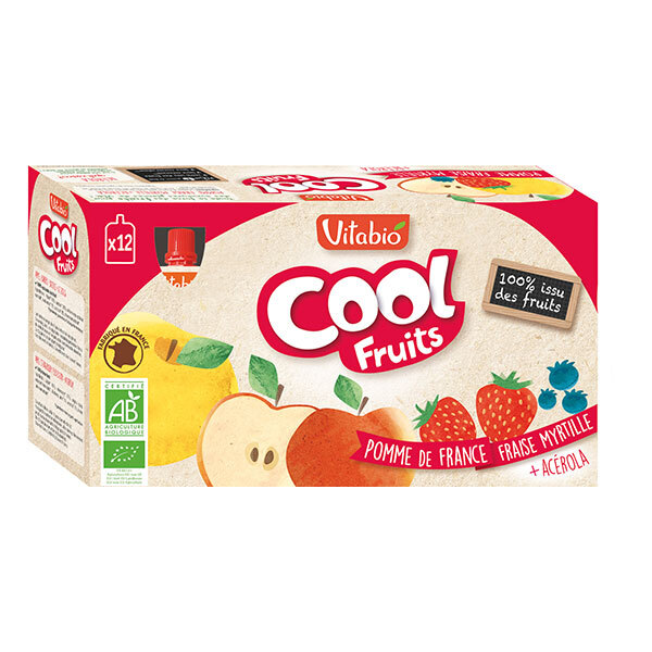 Vitabio - Cool Fruits Pomme Fraise Myrtille - Gourdes de fruits - 12 x 90g