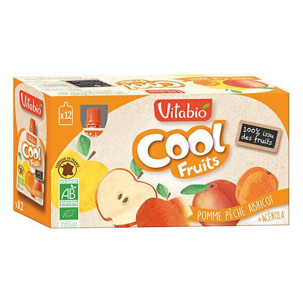 Vitabio - Cool Fruits Pomme Pêche Abricot - Gourdes de fruits - 12 x 90g