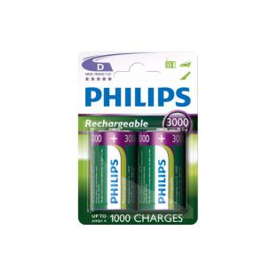 Philips - 2 HR20 D 3000mAh Rechargeable batteries