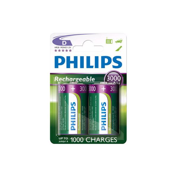 Philips - 2 HR20 D 3000mAh Rechargeable batteries