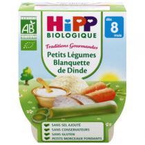 HiPP - 2 Bols légumes Blanquette de dinde 8 mois 190 gr