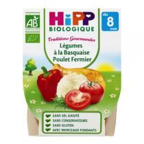 HiPP - 2 Bols Légumes Poulet fermier Bio 8 mois 190 gr