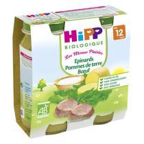 HiPP - 2 pots Epinards P. de terre Boeuf Bio 12 mois