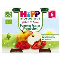 HiPP - 2 Pots Apple Strawberry Raspberry 2 x 190g