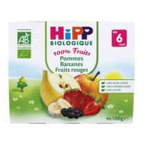 HiPP - 4 Cups Apple Banana Red Fruit x100g