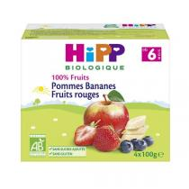 HiPP - Coupelles pomme bananes fruits rouges 4x100g