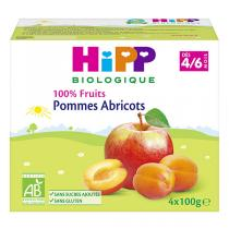 HiPP - Coupelles pommes-abricot 4x100g