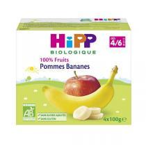 """Hipp - Coupelles bio """"100% Fruits"""", dès 4 mois, 4x100 g Pomme Banane"""