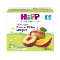 Hipp - Coupelles bio dès 8 mois Pommes Pêches Mangues
