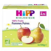 """Hipp - Coupelles Bio """"100% Fruits"""", dès 4 mois, 4x100g Pomme Poire"""