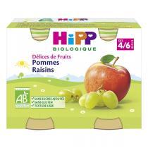 HiPP - Délice de fruits Pommes Raisins Bio dès 4 mois - 2 x 190g