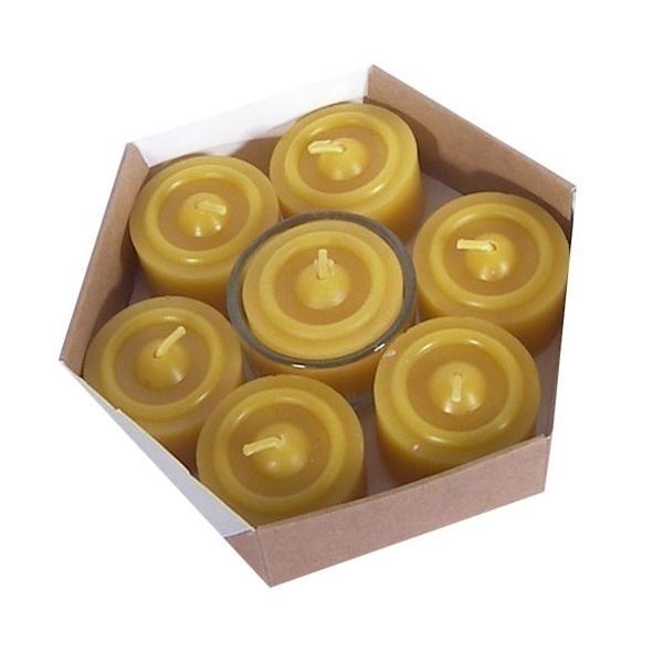 Ecodis - 7 Teelichter aus Bienenwachs mit Halter