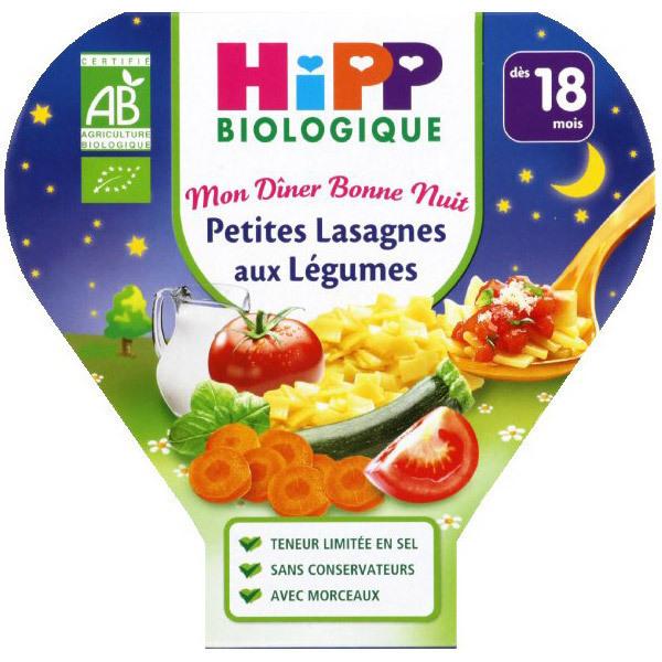 HiPP - 1 Assiette Lasagnes aux légumes Bio dès 18 mois 260gr