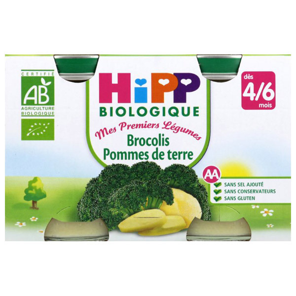 Hipp - 2 Petits pots Brocolis/P.de terre Bio