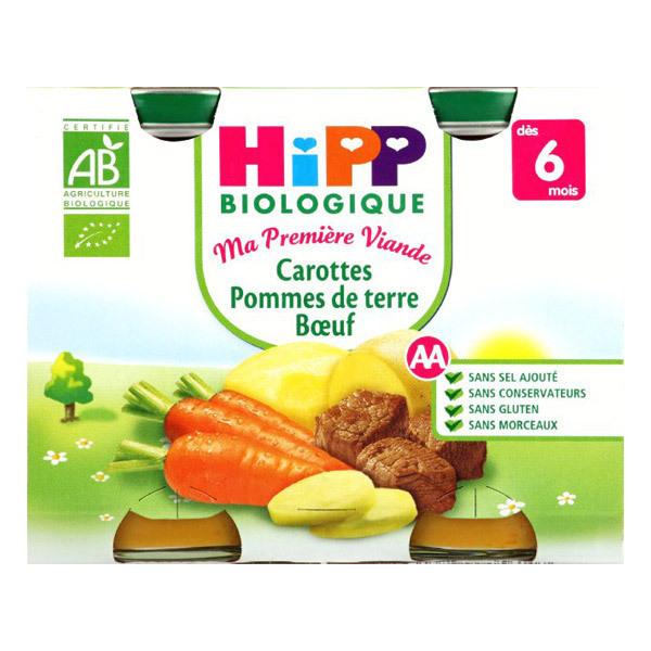 HiPP - 2 pots carottes pommes de terre boeuf dès 6 mois 190g