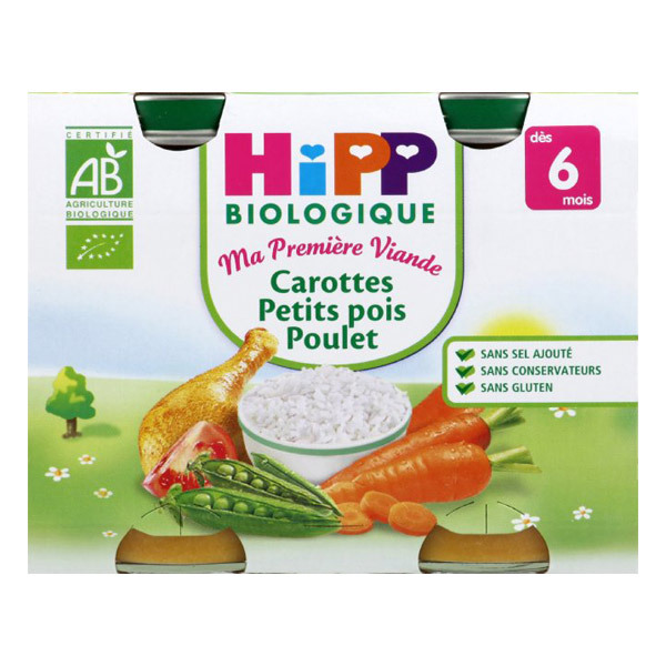Hipp - 2 pots Carottes Petits Pois Poulet