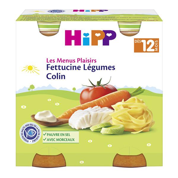 HiPP - 2 pots fettucine légumes colin dès 12 mois 2x250g