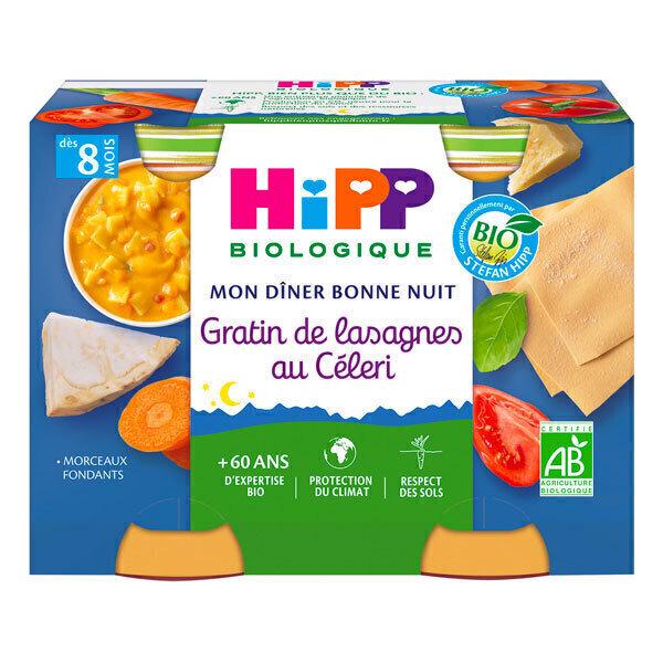HiPP - 2 pots gratin lasagnes céleri +8M 2x190g Mon Diner Bonne Nuit