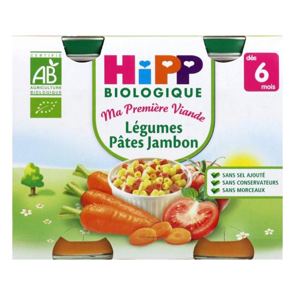 Hipp - 2 pots Légumes Pâtes Jambon Bio
