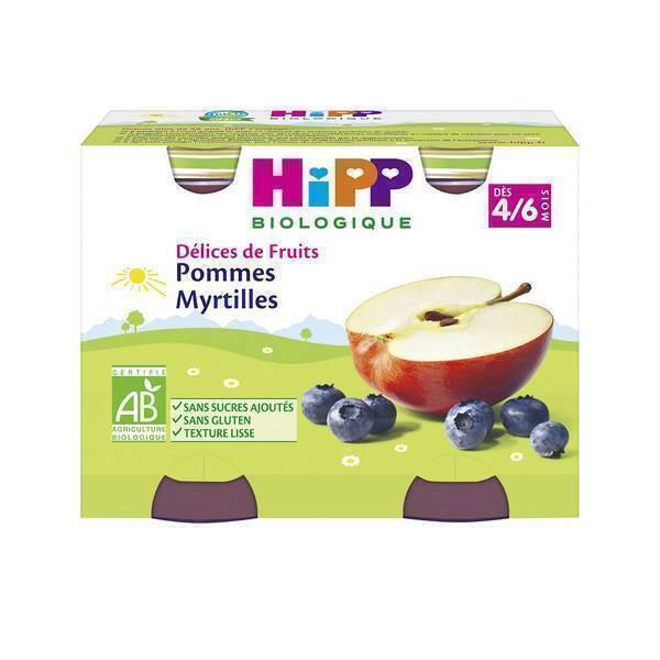 Hipp - 2 Pots Pommes Myrtilles Bio 2x190g
