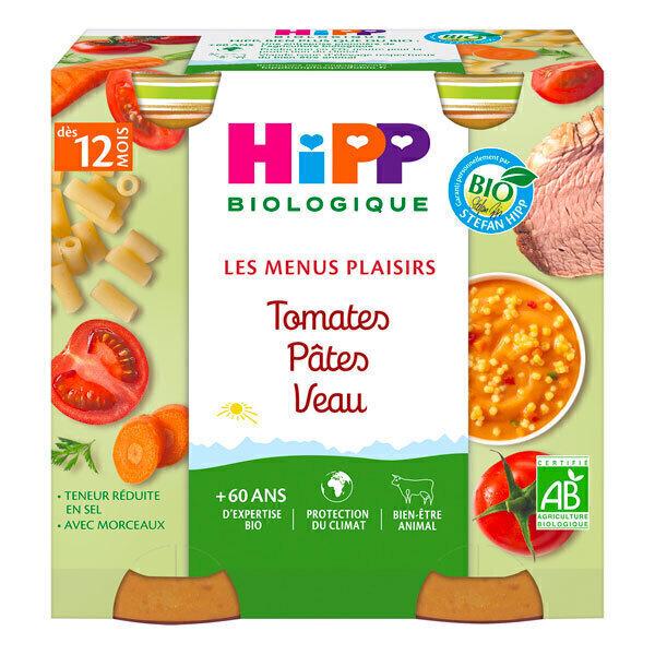 HiPP - 2 pots tomates pâtes veau dès 12 mois 2x250g