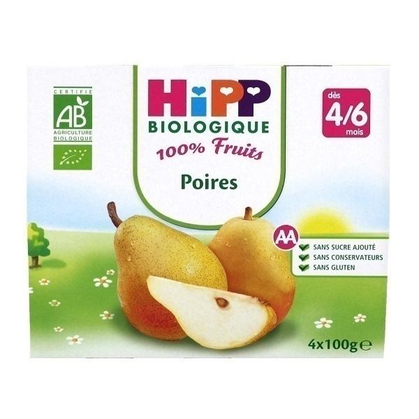 """Hipp - Coupelles Bio """"100% Fruits"""", dès 4 mois, 4x100g Poires"""