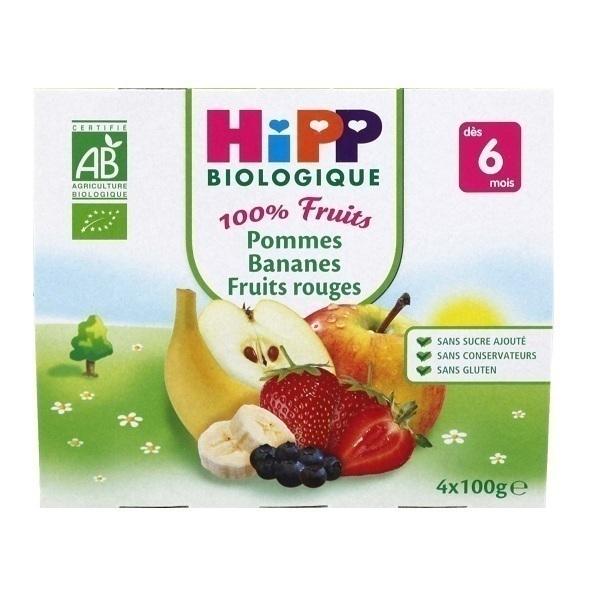 HiPP - 4 Cups Apple Banana Red Fruit x100g