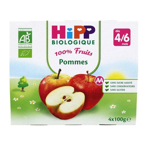 HiPP - 4 Apple Cups x100g