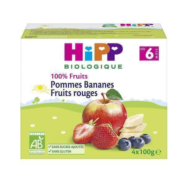 HiPP - Coupelles pomme bananes fruits rouges 4x100g