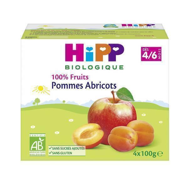 """Hipp - Coupelles Bio """"100% Fruits"""", dès 4 mois, 4x100g Pomme Abricot"""