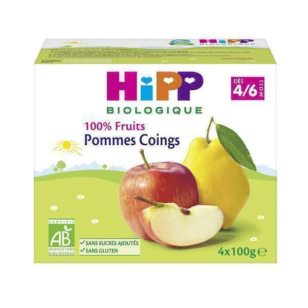HiPP - Coupelles pommes-coings 4x100g