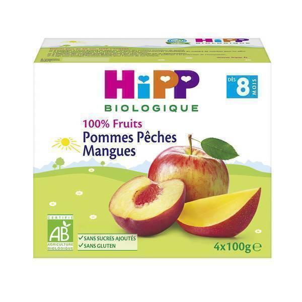 HiPP - Coupelles pommes pêches mangues 4x100g