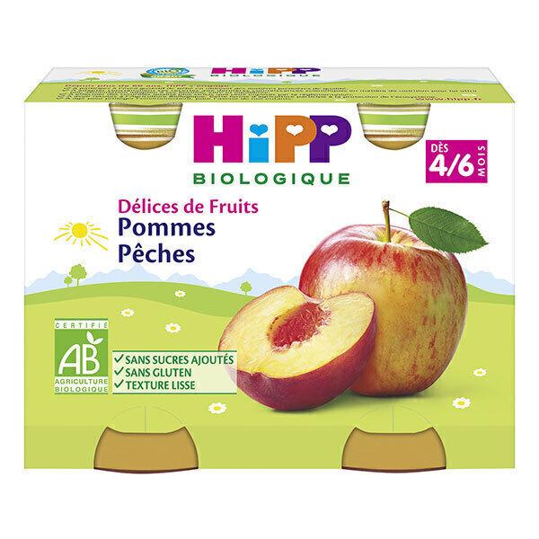 """Hipp - Petits pots bio """"Délices de Fruits"""" dès 4 mois Pommes Pêches"""