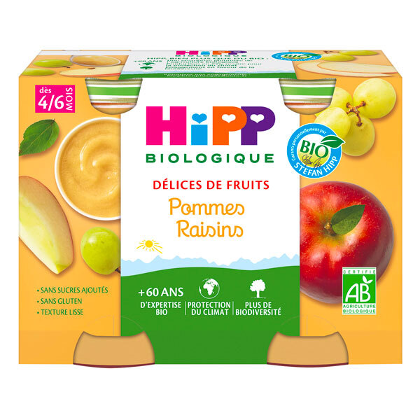 HiPP - Délice de fruits pommes raisins dès 4 mois - 2x190g
