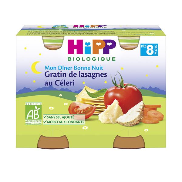 HiPP - 2 pots gratin de lasagnes au céleri dès 8 mois 2x190g