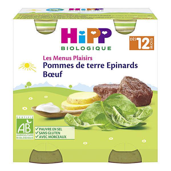 HiPP - 2 petits pots pommes de terre épinards boeuf dès 12 mois 2x250g