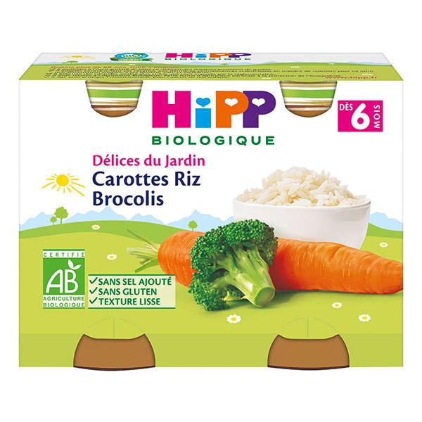 Hipp - 2 Petits pots Carottes Riz Brocolis Bio