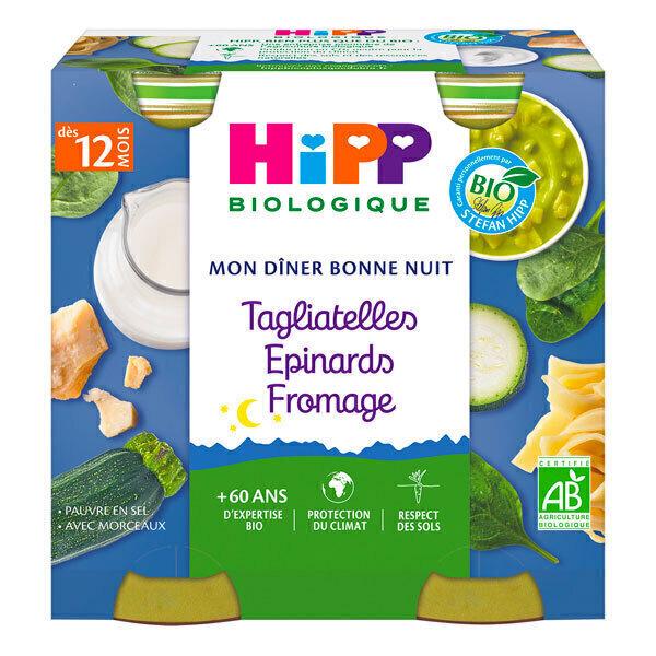 HiPP - Petits pots Tagliatelles Epinards Fromage 12 mois 2 x 250g