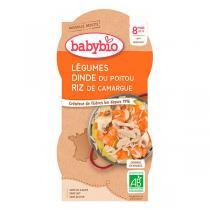 Babybio - Bols Mijoté de Légumes Dinde Riz Dès 8 mois 2x200g