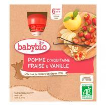 Babybio - Gourdes pomme fraise vanille 4 x 90g - Dès 6 mois