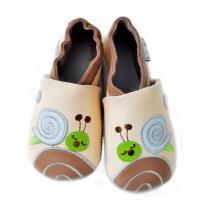 Lait et Miel - Pantofole in cuoio Escargot 0-24 mesi