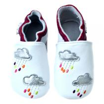 Lait et Miel - Baby Leather Slippers - Colourful raindrops design 0 - 24 months