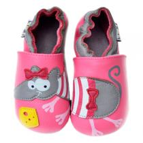 Lait et Miel - Pink Mouse leather baby indoor shoes 0-24 months