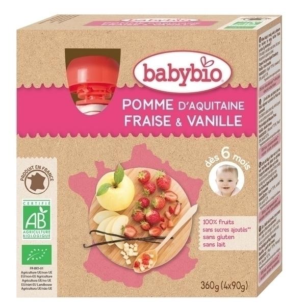 Babybio - Pack de 4 Gourdes Pomme Fraise Vanille, dès 6 mois
