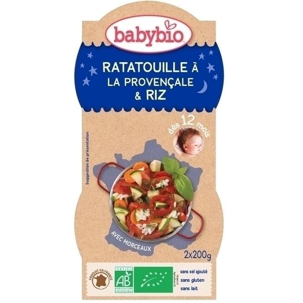 Babybio - Lot de 2 Bols Bonne Nuit, Ratatouille Riz, dès 12 mois
