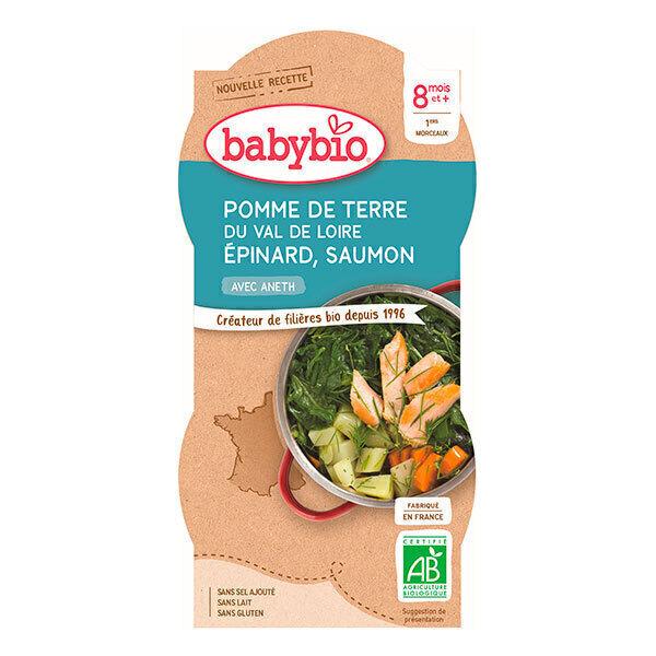 Babybio - Lot de 2 Bols Menu du Jour, Epinards Saumon, dès 8 mois