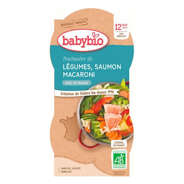 Babybio - Bols Légumes Saumon Macaroni 2 x 200g - Dès 12 mois