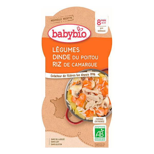 Babybio - 2 bols Mijoté de Légumes Dinde Riz Dès 8 mois