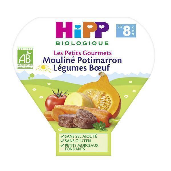 HiPP - 1 assiette mouliné potimarron légumes boeuf 8 mois 200g